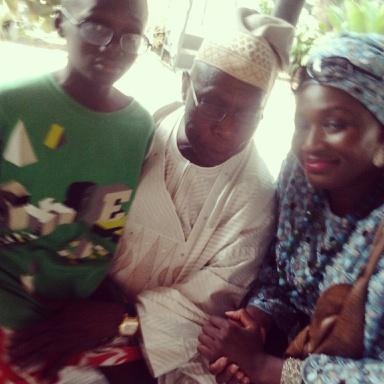 KJ Taiwo aka Kay Jeezy aka KJ the Kid Reporter, Former President Olusegun Obasanjo and Ms. Kemi