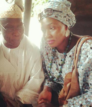 Former President Olusegun Obasanjo and Ms. Kemi Olunloyo