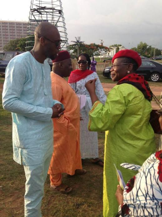 Amb. Robert Okere former Minister of Education  Oby Ezekwesili at the Chibok Girls rally in Maitama Abuja